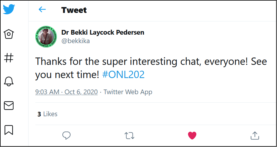 Positive feedback of #ONL202 tweetchat from participant